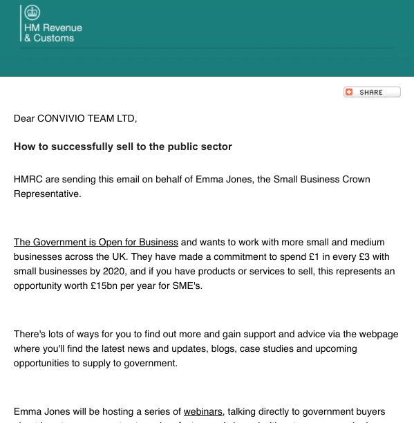 An email from HMRC promoting government claims about buying from SMEs