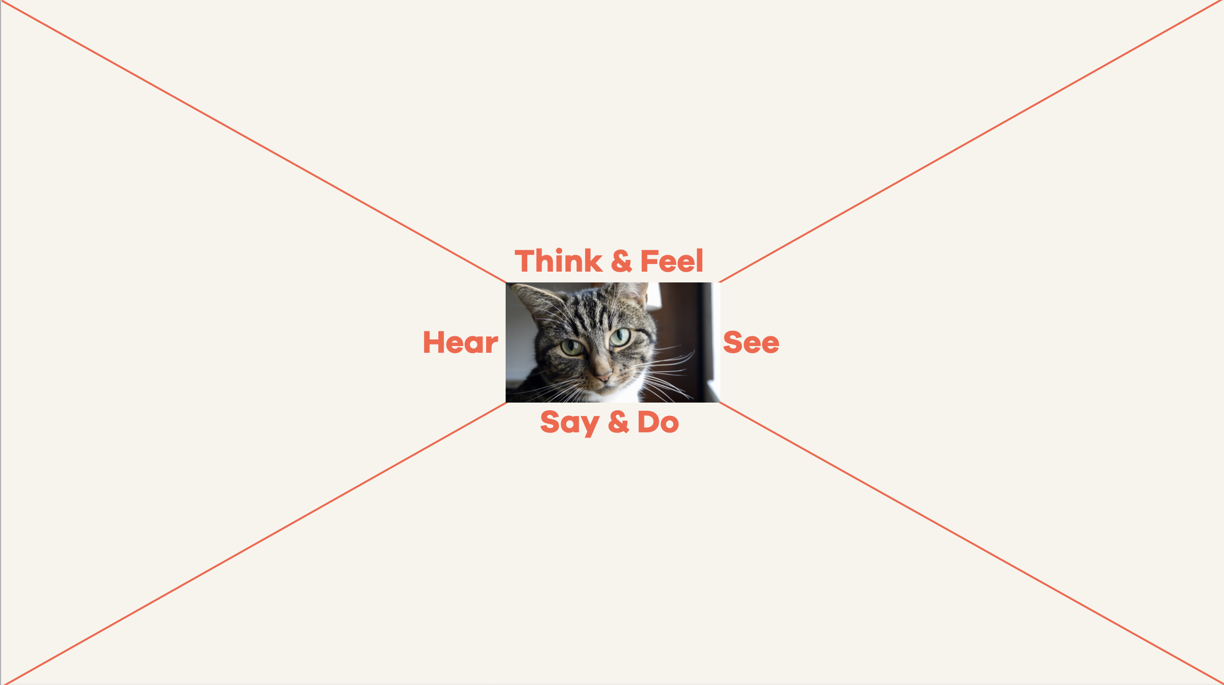 An image of a basic empathy map, with four quadrants divided into Hear, See, Think and Feel, Say and Do.