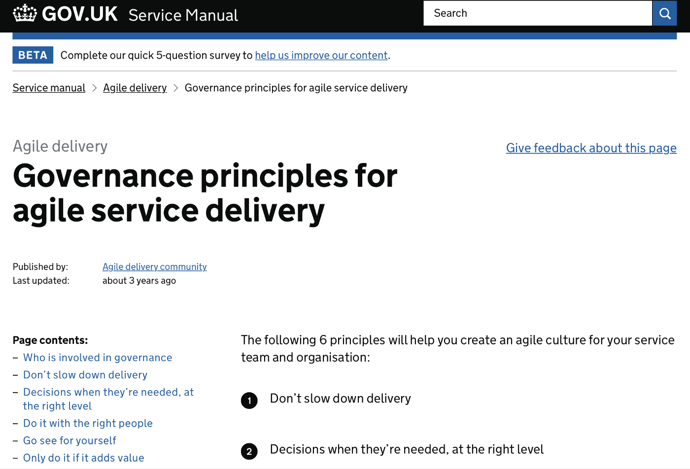 A screenshot of the Government Service Manual page with the Governance principles developed by GDS