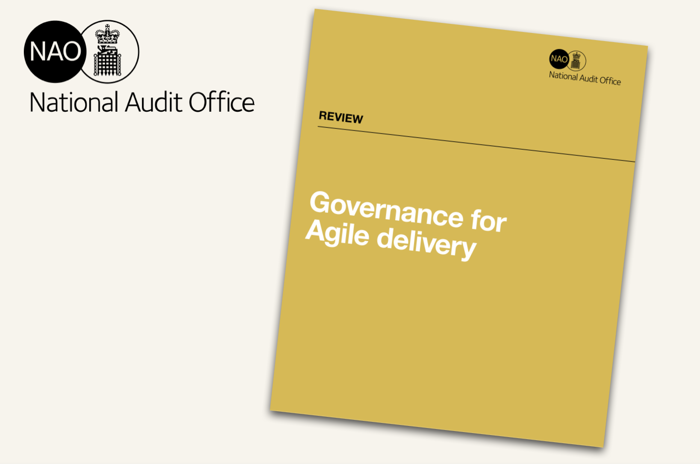 An image of the cover of the National Audit Office report 'Governance for Agile delivery'