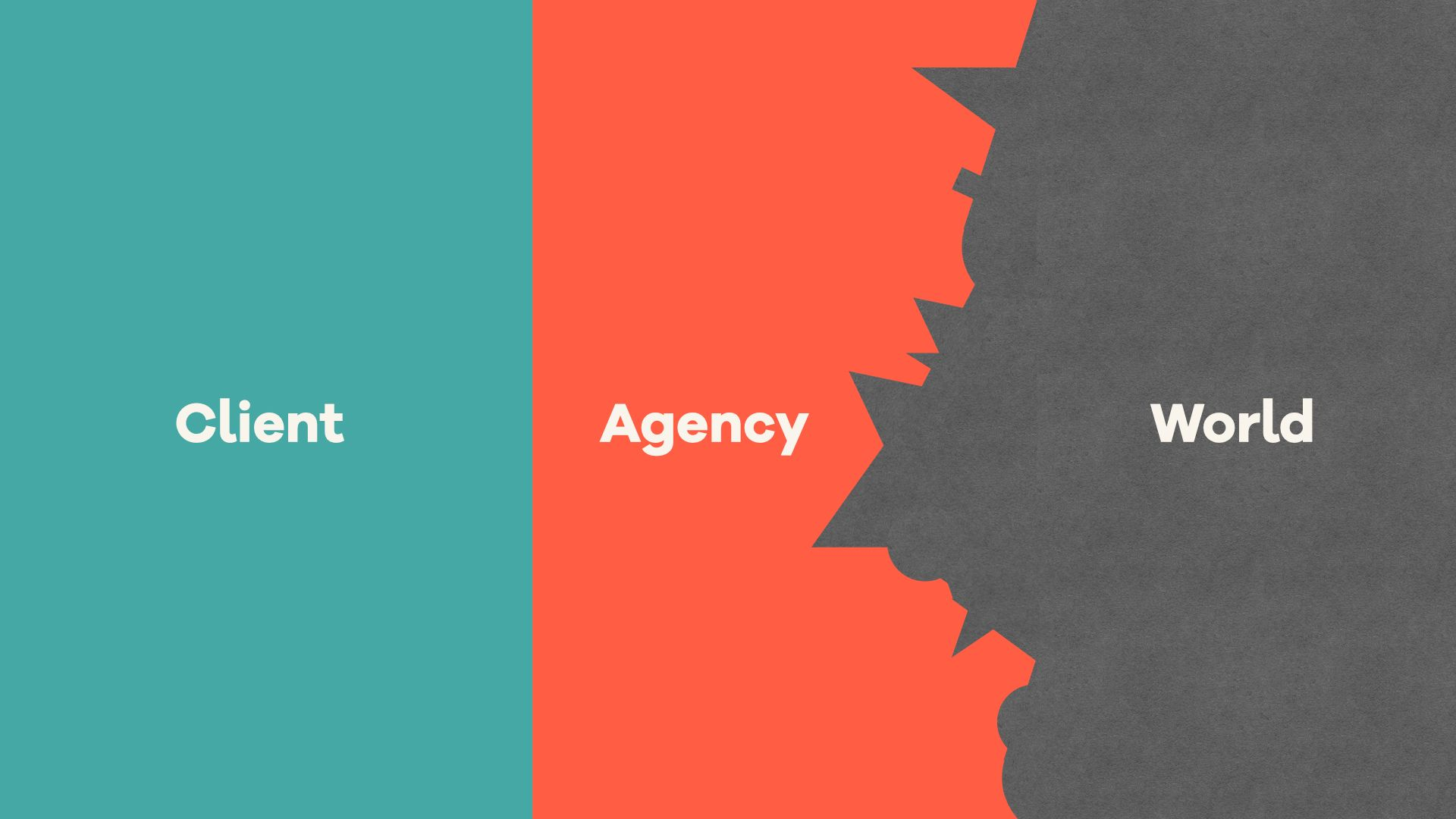 Diagram showing a square box on the left marked 'client', a box with chaotic zig zag edges on the right marked 'world' and the agency shown as being what fills the gap between the two
